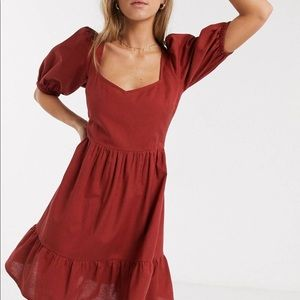ASOS Dresses - ASOS DESIGN tiered mini dress with puff sleeves